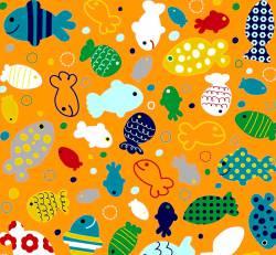 In the Ocean - Fische - Riley Blake auf Orange .