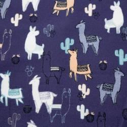 Llama beige und blau auf indigofarbenem Hintergrund by  Indigofabrics