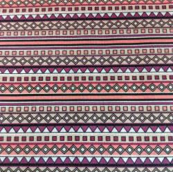 Llama geometrisches Inka  Design pink lachs fuchsia längsgerichtet by  Indigofabrics