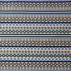 Llama geometrisches Inka  Design blau längsgerichtet by  Indigofabrics