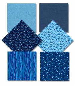 .Fat Quarter Paket - Rainbow Colours BLUE bei STOF A/S.