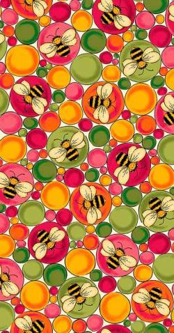 MINIBALLEN 0,55m Bienen in bunten Blasen - Quilting Treasures - Ellery