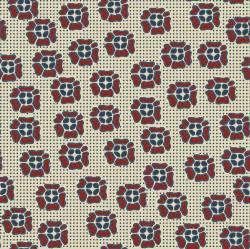 COUNTRY ROSE CLUB ONLY Quilters Basic stilisierte Blüten auf Creme  Blau und Rot