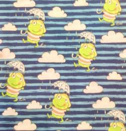 Steinbeck Frösche mit Regenschirm - BLAU