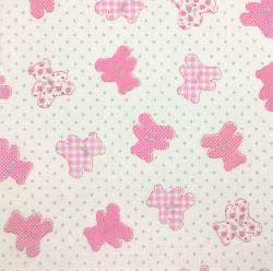 Loving Bear pink auf weiss 150 cm Breite  by  Indigofabrics