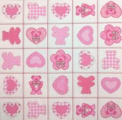 Country Bear pink auf weiss 150 cm Breite  by  Indigofabrics