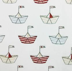 Schiffe auf Weiss 150 cm Breite  by  Indigofabrics