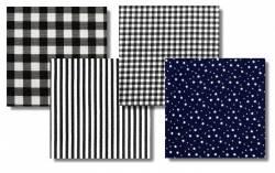 COUNTRY ROSE CLUB ONLY Black & White Indigofabrics Fat Quarter Paket