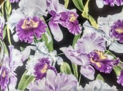 SCHLANKER BALLEN 1 Meter Hoffman PUALANI  Hawaii Kollektion Lila-weisse Blüten auf schwarz