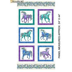 Horsen Around - wilde Pferde - Benartex - Paneel 60 x 110 cm weiss