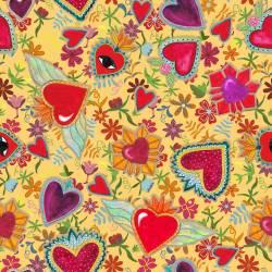 .RÜCKSEITENSTOFFPAKET MEXICO HEARTS 150 x 250 cm von Indigofabrics Spanien