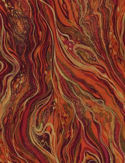 PALAZZO - Timeless Treasures - Marble rot ocker orange metallic