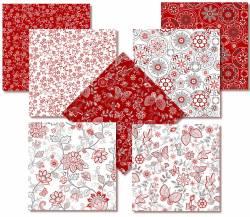 Scarlet Stitches - Henry Glass - Fat Quarter Paket mit 7 Fat Quartern