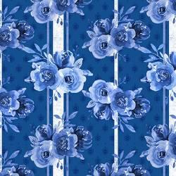 Blue Jubilee - Blue Roses - blaue Rosen Endlosdruck mit Streif
