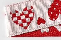 Webborte Herzen - beidseitig verwendbar rot + weiss