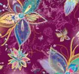 Enchanted Floral - große Blüten auf Blau Lila/Pflaume