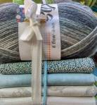 StoffWollPaket - Fat Quarter XL Indigofabrics in Hellgrau/Blau
