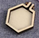 Mini-Hexagon-Rahmen 4.1 cm quer - 2 cm Seitenlänge HOLZ