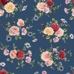 Evie Rosenbouquet auf Mattblau by  Indigofabrics  150 cm Breite