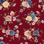 Evie Rosenbouquet auf Rostrot by  Indigofabrics  150 cm Breite