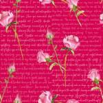 Love Letter - Henry Glass Rosen mit Schrift auf Pinkrot