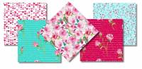 Love Letter Fat Quarter Paket - Henry Glass Rosen und Herzen 5 FQ