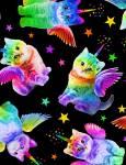 Rainbow Unicorn Cats -  Timeless Treasures Katzen in Regenbogenfarben