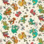 Whirly Gig Magic  - lustige Drachen und Libellen auf  Beige - Henry Glass