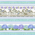 Hydrangea Birdsong -  Endlosbordüre Vogelhäuser Hortensien Wicken - Henry Glass