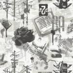 HOFFMAN - GRAFIC COLLAGE FLINT - schwarz grau creme