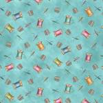 Sew let´s Stitch - Fäden Spulen Nadeln auf Hellblau - Henry Glass