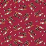 Sew let´s Stitch - Nähmaschinen mit Quilts auf Rot - Henry Glass