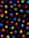 Timeless Treasures - Multicolor Pfoten auf SCHWARZ