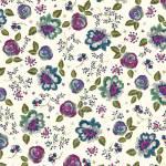 IRENE 102  bunte Blumen auf Weiss Rückseitenstoffpaket 150 x 250 cm Indigofabrics