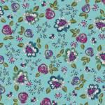 IRENE 1601 bunte Blumen auf Blau Rückseitenstoffpaket 150 x 250 cm Indigofabrics