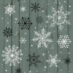 .Christmas Memories - Schneekristalle auf Mattgrün - Studio E Fabrics
