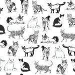 Sketched realistic Cats - schwarze Katzen auf Weiss - Timeless Treasures
