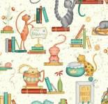 Purrfect Day - Katzen auf Regalen - Windham Fabrics