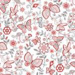 Scarlet Stitches - Butterfly - Schmetterlinge auf Weiss- Henry Glass